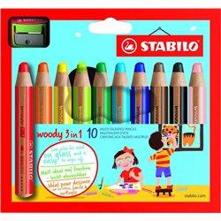 Etui carton 10 crayons Stabilo woody mine diam. 10 mm + 1 taille crayons en plastique gros module offert
