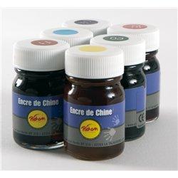 Set 6 flacons encre de chine couleurs assorties (6 x 15 ml) pichon