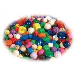 Sachet 500 g perles bois couleurs et formes assorties