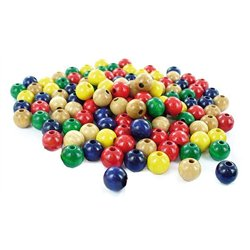 Sachet 1000 perles bois rondes multicolores 10 mm
