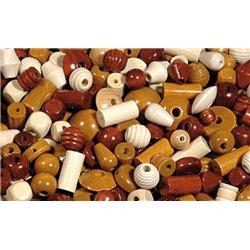 Sachet de 500 gr perles en bois foncé et naturel gros trous 4 mm + Lot de 5 fils velours offert