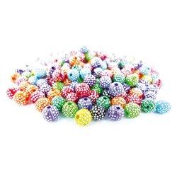 Bocal 200g perles plastique rondes 8mm à pois argenté scintillantes