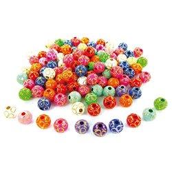 Bocal 400 perles plastiques couleurs assorties décor dorés Ø 9 mm