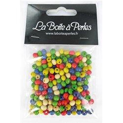 Sachet 215 perles bois rondes multicolores 6 mm