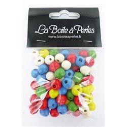 Sachet 95 perles bois rondes multicolores 10 mm