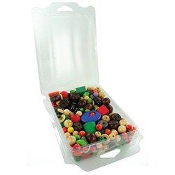 Boîte 200 g perles bois, formes et couleurs assorties