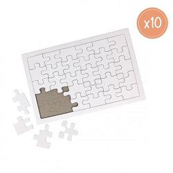 Ensemble 10 puzzles blancs 14 x 21 cm de 30 pièces
