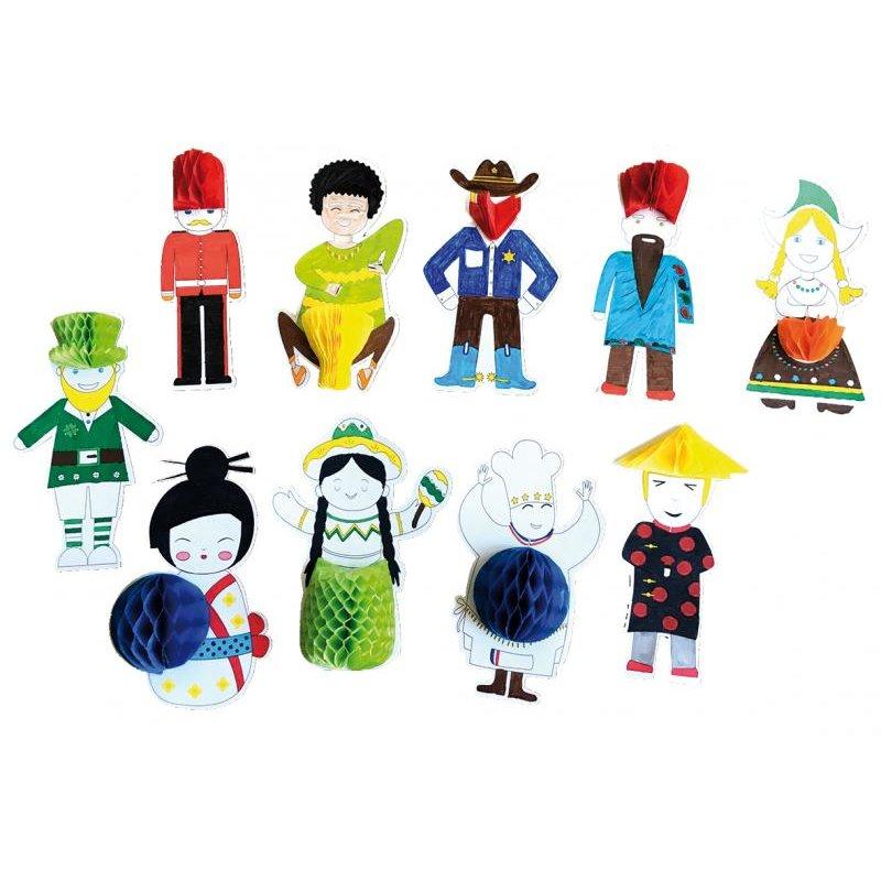 Kit 10 mascottes 3D autour du monde