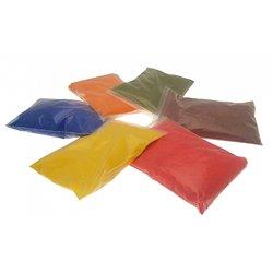 Assortiment 6 sacs de 500 g de sable à modeler rouge, vert, bleu, jaune, orange, marron