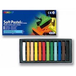 Boîte 12 pastels tendres Mungyo assortis 66 mm