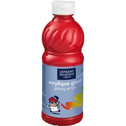 Flacon 500 ml, couleurs acryliques glossy lefranc & bourgeois - rouge vif