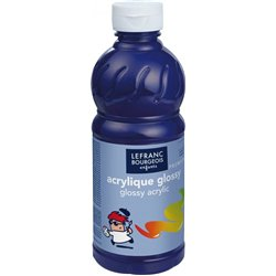 Flacon 500 ml, couleurs acryliques glossy lefranc & bourgeois - bleu outremer