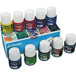 Boîte 10 flacons sétacolor assortis, transparent réf. 075 pébéo