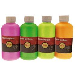 Assortiment de 4 flacons 250 ml gouache acrylique fluo Pichon