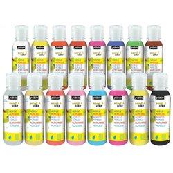 Assortiment de 16 flacons de 150 ml gouache acrylique Acryl'color Pebeo