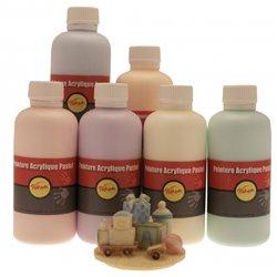 Assortiment de 6 flacons de 250 ml de gouache acrylique pastel pichon