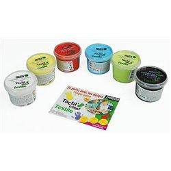 Ensemble 6 pots 100 ml gouache aux doigts textile Pebeo couleurs classiques
