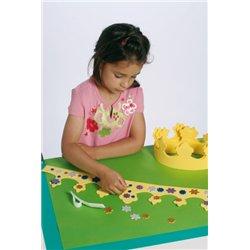 Kit de 10 couronnes jaune à décorer, 100 étoiles et 100 ronds de 8 mm