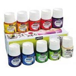 Assortiment 10 flacons 45ml Vitrea Pébéo couleurs brillantes