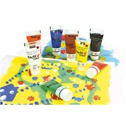 Assortiment 8 tubes 80 ml. tactilcolor pebeo gouache aux doigts épaisse et onctueuse lavable à l'eau