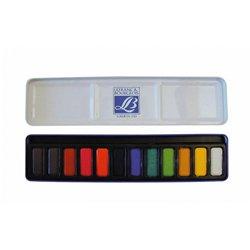Boîte métal 12 pastilles aquarelle lefranc & bourgeois