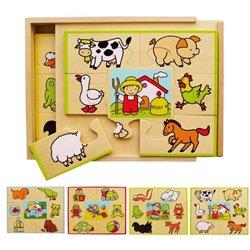 Coffret 4 puzzles bois : la ferme les animaux familiers les jouets la campagne