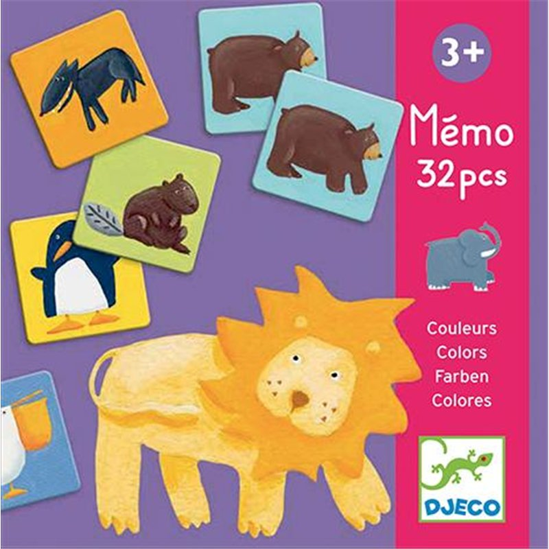 Mémo les animaux couleurs en carton