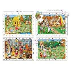 Set 4 puzzles d'observation les contes