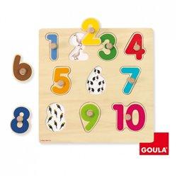 Puzzle boutons numéros 1 à 10 en bois