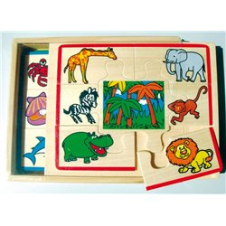 Coffret 4 puzzles bois - les animaux et leur milieu naturel