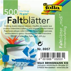 Paquet 500 feuilles papier 70g Origami 7.5 x 7.5 cm couleurs assorties