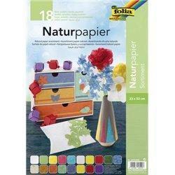 Pochette 18 feuilles papier nature, 23 x 33 cm