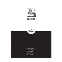 Feuille dessin blanc 120 g 25 x 32 cm gamme supérieure (Pochette de 20)