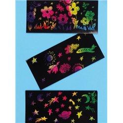 Carte à gratter noire/arc en ciel 15 x 21. holographique (Pochette de 10)