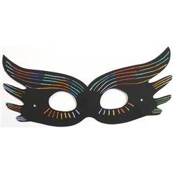 Lot 12 masques en cartes à gratter noir arc-en-ciel + 4 bâtonnets
