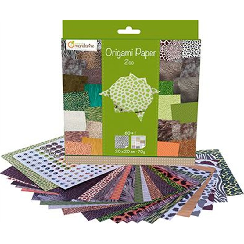Pochette 60 feuilles papier 70 g origami 20x20 cm thème zoo + planche stickers yeux