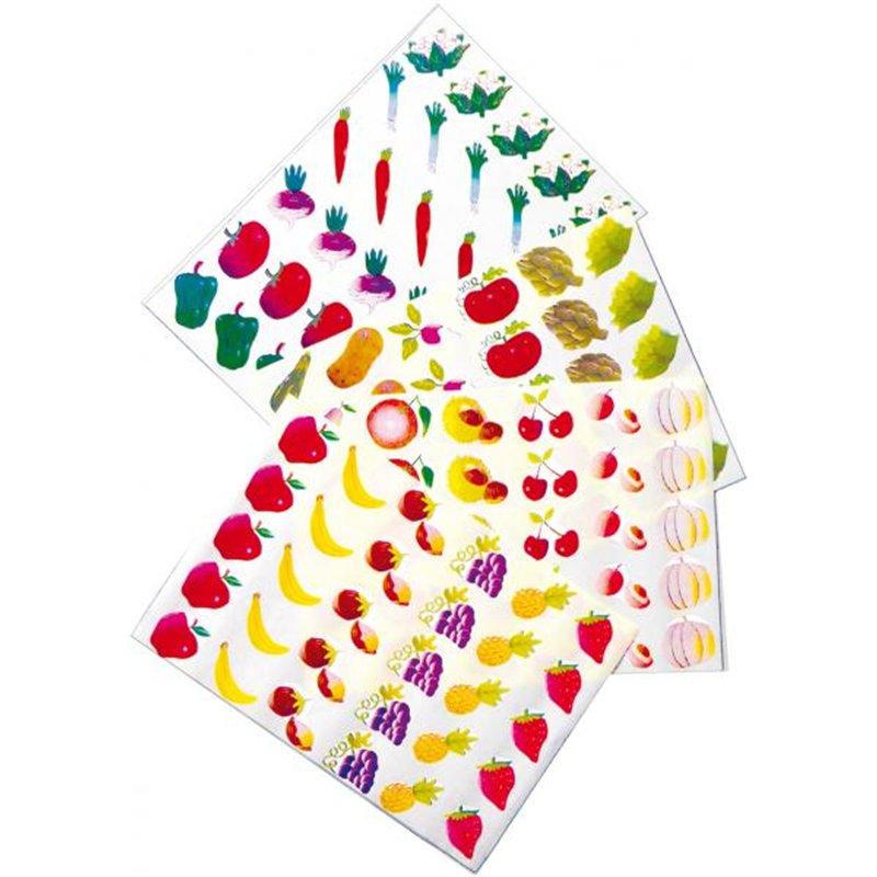Pochette de 12 feuilles de 30 gommettes prédécoupées - fruits et légumes