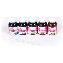 Barquette 5 flacons colorants bougie assorties 5x25 ml