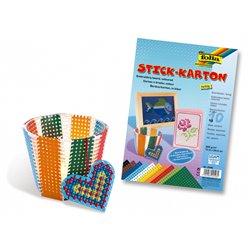 Set 10 feuilles carton à broder couleurs assorties