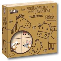 Lot 9 tampons bois thème les animaux de la ferme + 1 recharge tampon noir