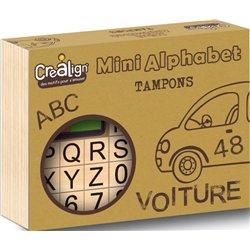 Lot 39 tampons bois mini alphabet majuscules et chiffres + 2 encreurs doubles 130 x 30 x 105 mm