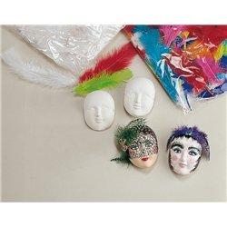 Petit masque plâtre avec attache 4 x 3 cm (Ensemble de 20)