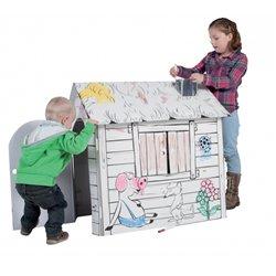 Maison immense pré imprimée à décorer en carton blanc