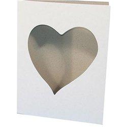 Carte cadre cœur à décorer en carton blanc 22 x 17 cm (Lot de 10)