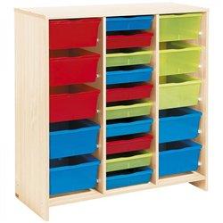 Meuble haut 20 bacs multicolores - Teinte Bouleau