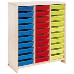 Meuble haut 30 bacs multicolores - Teinte Bouleau