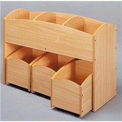 1 bac à livres 3 cases hêtre + 1 lot de 3 bacs à livres 1 case hêtre - Offre spéciale