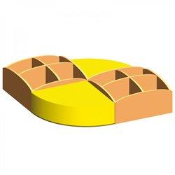 Îlot lecture hêtre Mobinathan avec poufs jaunes - Offre spéciale