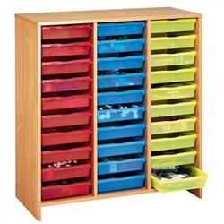 Meuble haut 30 bacs multicolores hêtre MobiNathan