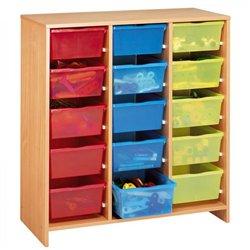Meuble haut 15 bacs multicolores hêtre MobiNathan